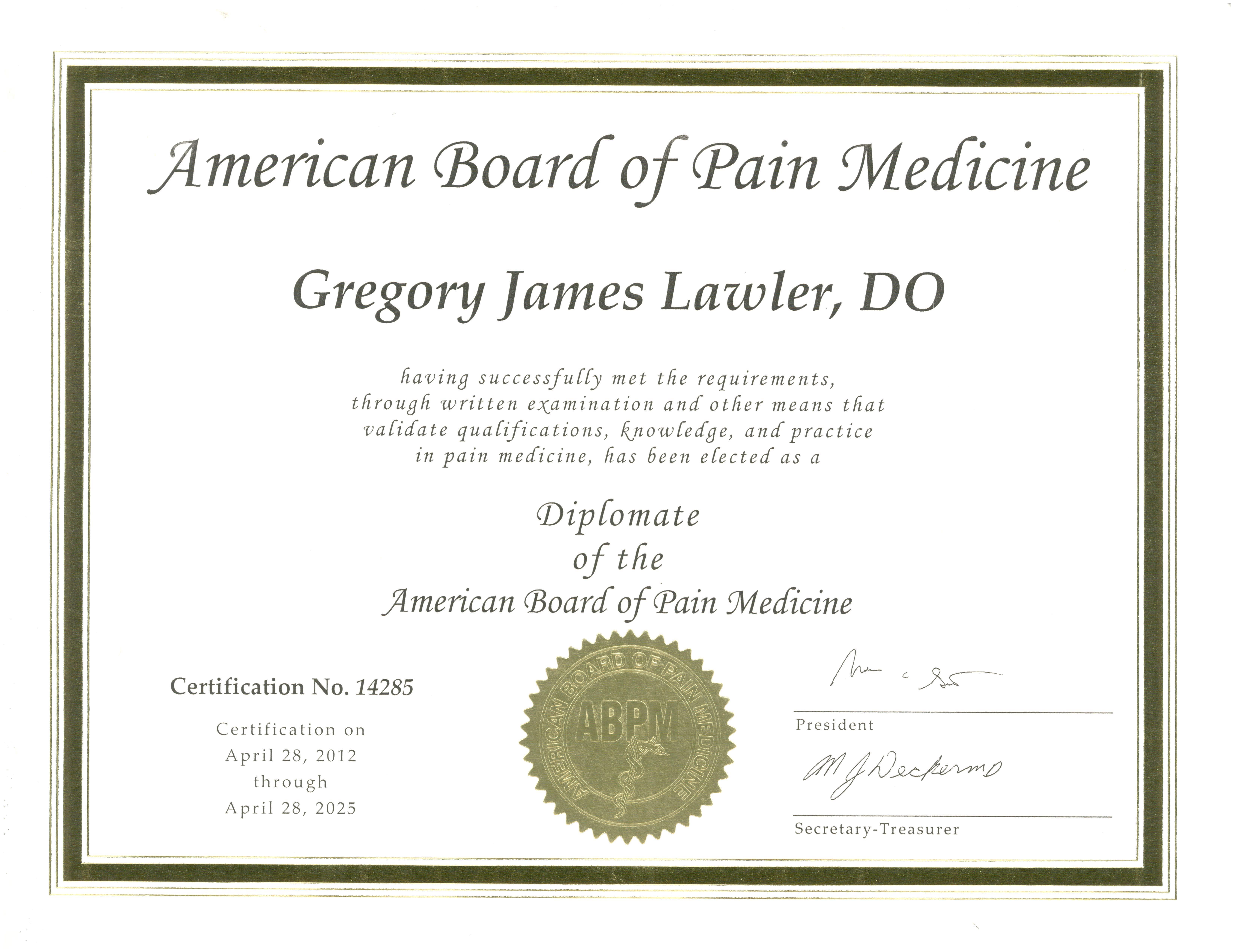 American Acad Pain Cert