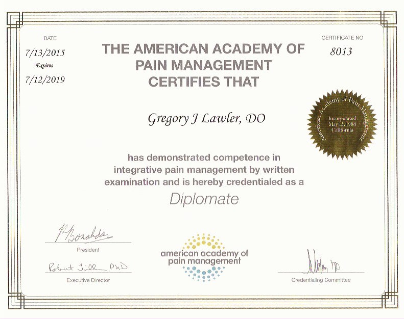 American Academy of Pain Management Cert