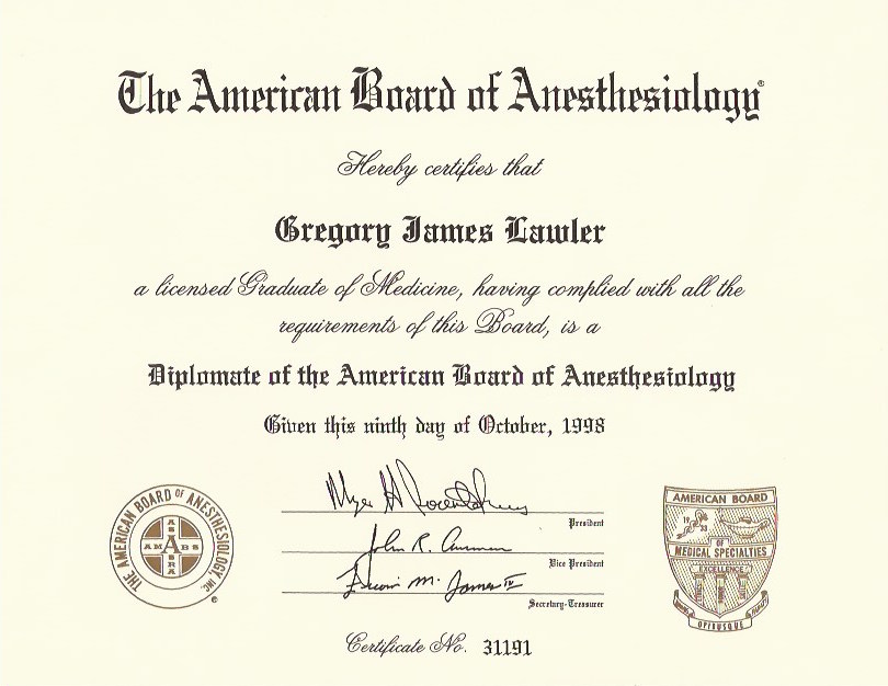 American Board of Anesthesiology Cert