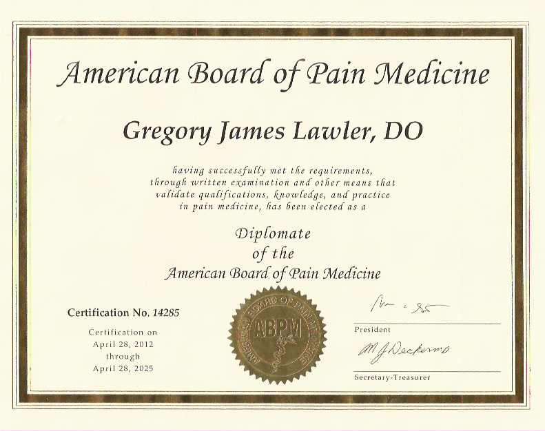 American Board of Pain Med Cert