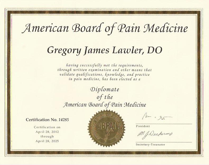 American Board of Pain Med Cert